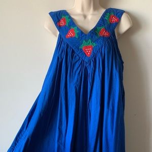 Vintage blue embroidered quilted boho maxi dress